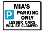 MIA'S Personalised Parking Sign Gift | Unique Car Present for Her |  Size Large - Metal faced